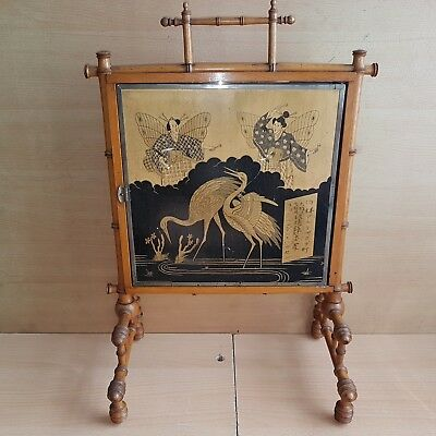 5# Old Antique Japanese Panel Mirror Black Gold Lacquer Painted, Women w. Herons