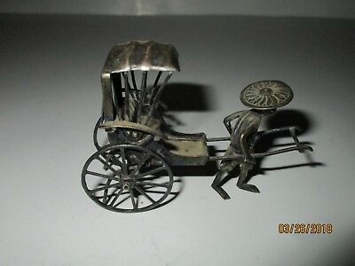 Antique Chinese Export Silver Miniature Rolling Rickshaw w/ Man 3 In Marked 30 g