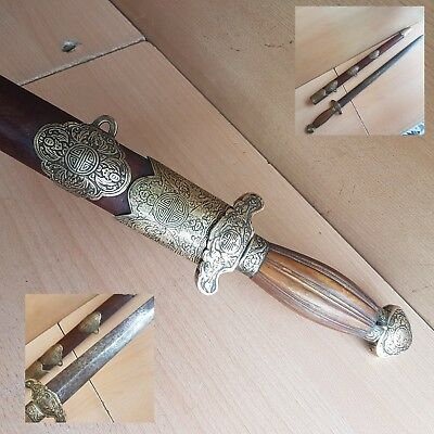 10# Old Rare Antique Chinese Sword w. Horn Handle Carved w. Bats, Long life Mark