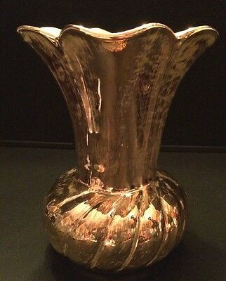 Vintage Hand Painted Stangl Pottery Vase Antique Gold and Green