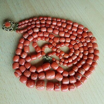 13# Old Rare Antique Vintage Natural Undyed Chinese Coral Necklace Beads 125 Gr