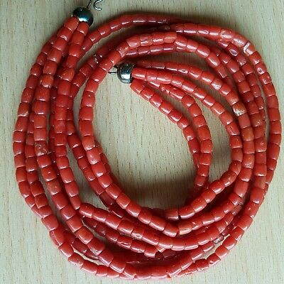 15# Old Rare Antique Vintage Natural Undyed Chinese Coral Necklace Beads 49 Gr