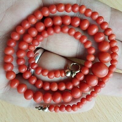 16# Old Rare Antique Vintage Natural Undyed Chinese Coral Necklace Beads 15 Gr