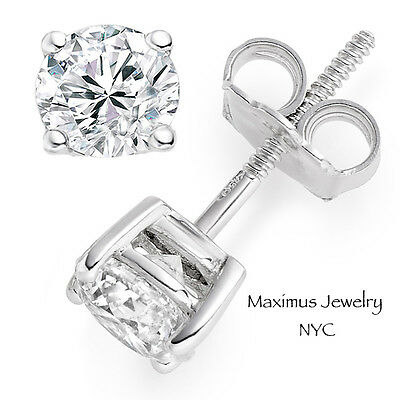 1Ct Round Cut Solitaire Created Diamond Stud Earrings 14k White Gold Screw Back