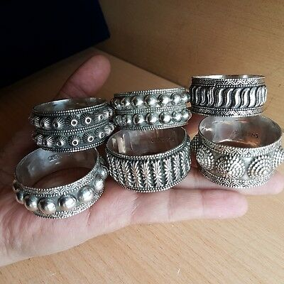 22# Old Antique Set of 6 Omani Silver Napkin Rings Marked Oman 925
