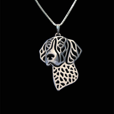 German Shorthaired Pointer Pendant with Silver Necklace Dog Pet