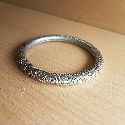 26# Old Antique Asian Chinese Silver Bracelet, Carved