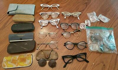 Lot of Vintage Eyeglasses frames Bausch and Lomb, Aluminum, Lenses, Flair, Gold