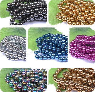 4MM 6MM 8MM 10MM 12MM DIY Ball BLACK NON-MAGNETIC Natural HEMATITE Spacer BEADS