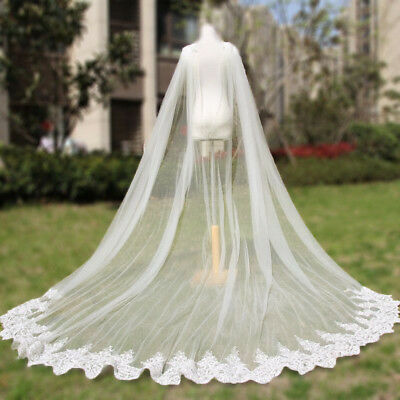 Show Prom Wedding Shawls White/Ivory Gowns Cape Long Wraps Cloak Cocktail Bridal