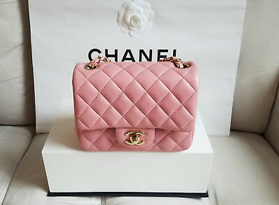 22adfbd9043e 2017 Chanel Square Mini Classic Flap Bag Pink with Light Gold Hardware