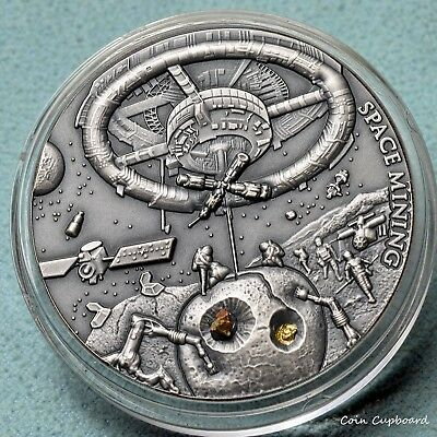 2018 - Niue - SPACE MINING, 1oz .999 silver high relief with Chondrite fragment