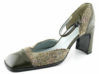 CHARLES JOURDAN CJBIS olive green &Tweed D'Orsay Pumps Heels Shoes 9.5 Spain