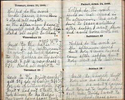 1868 POST CIVIL WAR WOMAN'S HANDWRITTEN DIARY ~ Hawley, Franklin Co Mass History