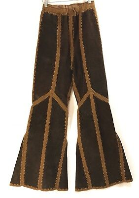 True Vintage High Waisted Suede Leather Crochet Bell Bottoms Pants Sz M