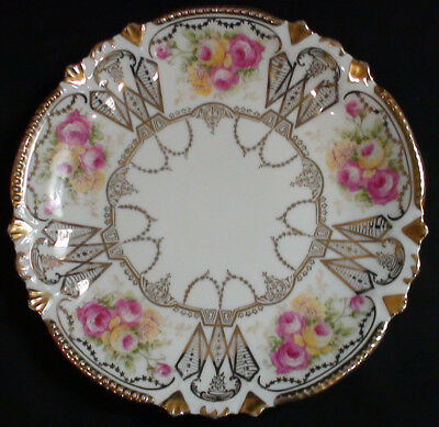 Moschendorf Pink & Yellow Rose Floral & Gold Gilt Porcelain Plate C. 1900 - 1920