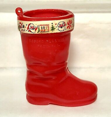Vintage 1969 Rosbro SANTA CLAUS BOOT Candy Container Woodstock Christmas Rosen