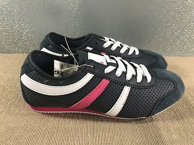 BNWT Older Girls Size 2  Rivers Doghouse Navy White Pink Casual Jogger Shoes