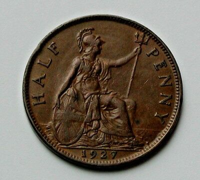 1927 UK (British) George V Coin - Half Penny (1/2d) - lustrous brown