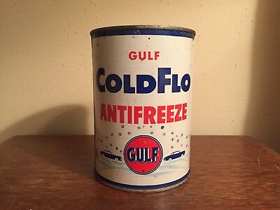 AUTH Gulf Oil & Gas Quart ColdFlo Antifreeze Empty Old Logo Can dt 725A-S-IE