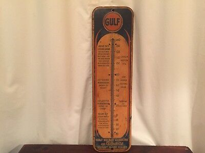 """LOOK! Original & Authentic Gulf Oil & Gas THERMOMETER 7.25"""" x 26.5"""""""