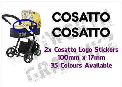 2x Cosatto Pushchair Stroller Replacement Logo Stickers 35 Colours