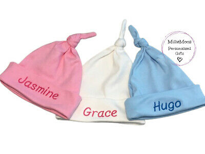 Personalied Baby Beanie / Knotted Hat - Add Any Name -BabyBoy Girl Keepsake Gift