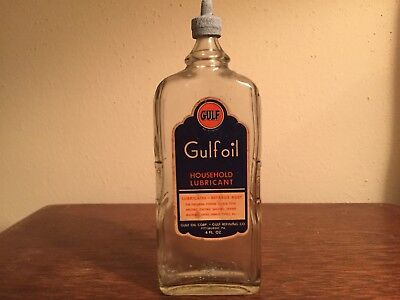 Auth & Original VERY OLD Gulf Oil Glass 4oz HOUSEHOLD LUBRICANT Empty Bottle!