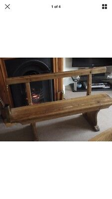 Pitch pine bench. Possibly school or chapel.