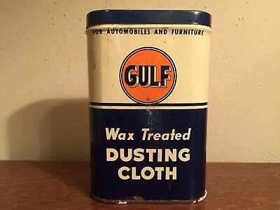 Authentic & Original Gulf Oil & Gas WAX TREATED DUSTING CLOTH Old Logo FULL Can
