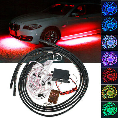 7 Color 252 LED Under Car Glow Neon Lights Strip Kit + Wireless Remote Control