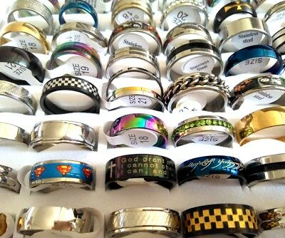 NEW mix lot 100PCS men women Stainless Steel Band Rings Gift Resale Rings Party