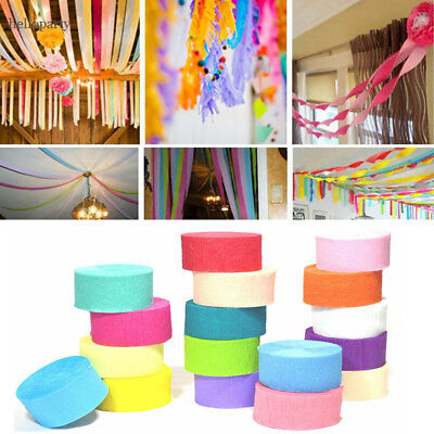 19 Colours Crepe Paper Rolls 81ft Streamer Party Decoration Bunting 24 metres Purple