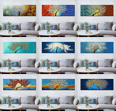 """Framed Canvas Print Wall Art Spring Flower Tree Abstract Oil Painting 16X16"""" New"""