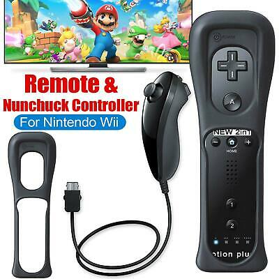 2in1 Motion Plus Remote Control + Nunchuck Controller for Nintendo Wii Game New
