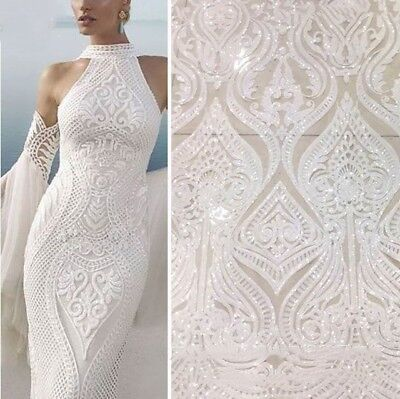 On-Sales Fabric White Lace Sequin Mesh Fabric 51/'/'//Y Bridal Dress Tulle Lace