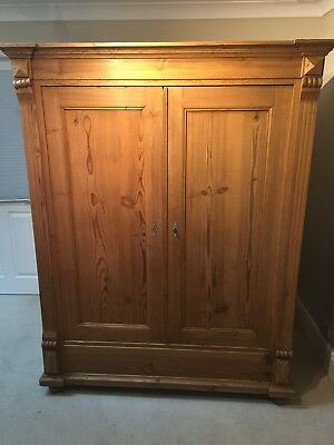 Antique pine wardrobe armoire in good condition