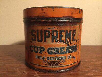Authentic Original Gulf Refining Co. SUPREME CUP GREASE 1lb Empty Can Oil & Gas