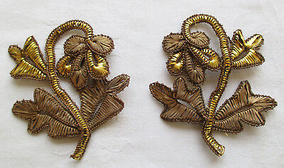 Set of Two Vintage Gold Metallic Appliques Blossom Leaf Wide Threads  French