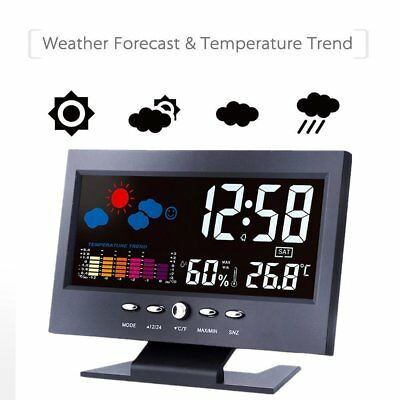 Digital Display Thermometer humidity clock Colorful LCD Alarm Calendar Weather #