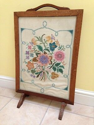Vintage Fire Screen With Embroidered Inlay
