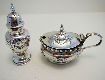Antique Solid Sterling Silver Pepper Mustard Pot Jar Cruet Edwardian/Victorian