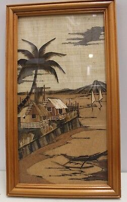 Art - Ethnic Picture made of Straw & ?Sisal - ? Marquetry - Huts & Boats 42x24cm