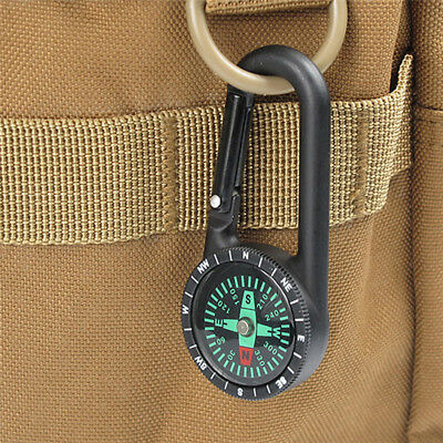 New Tactical Survival Equipment Compass Alloy Carabiner Key Chain W/ Thermometer