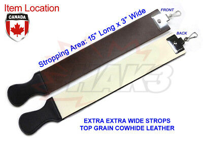 "New Extra Wide 3"" 3 Inch Cowhide Leather Strop Straight Razor Knife Sharpening"