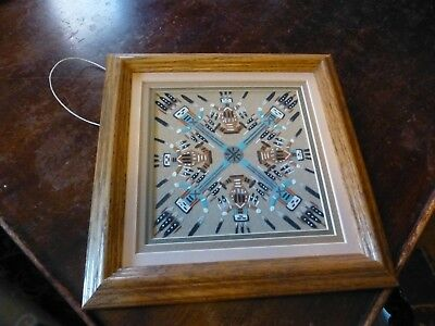 Authentic Navajo Sandpainting 'Watercreatures' signed and in wooden frame