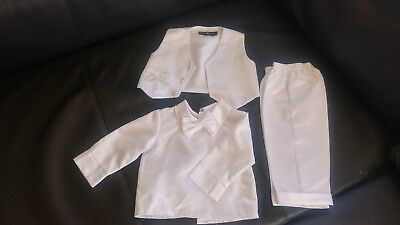 Baby Boys 3 Piece Christening Outfit / Christening Suit White Check