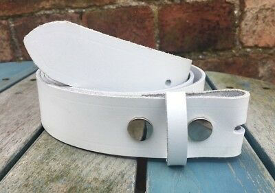 White Leather Press Stud Snap Belt Choice of Widths Hand Made 100% Real Leather