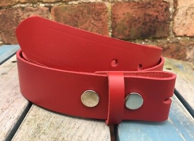 Red Leather Press Stud Snap Belt Choice of Widths Hand Made 100% Real Leather