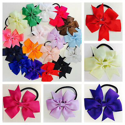 Girls bow fabric hair bobble elastic tie school party ribbon childrens